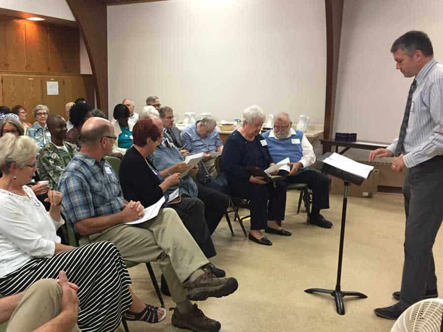 Pastor Ben teaching adult Sunday school