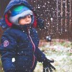 child blue jacket hat gloves